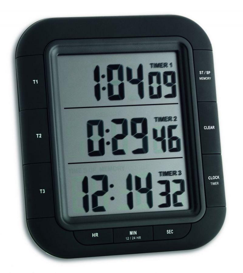 Таймер цифровий TFA Triple Time XL, 103х20х103 мм (382023)