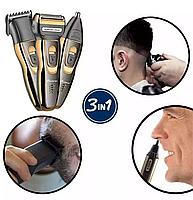 Триммер для стрижки бороды и волос беспроводной Gemei 3 в 1, фото 7