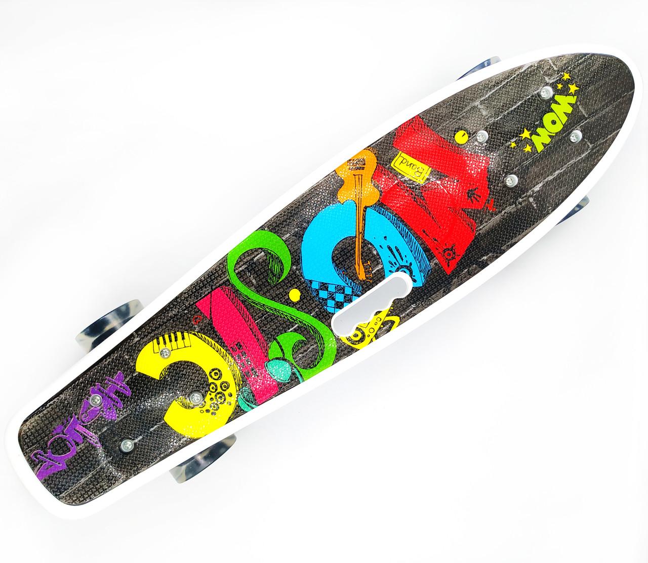 Пенні борд з ручкою з світяться колесами Best Board Графіті