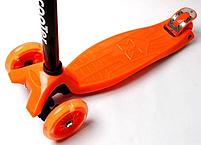 Дитячий чотириколісний самокат Scooter Maxi помаранчевий (світяться колеса) , фото 3
