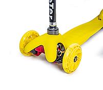 """Дитячий триколісний самокат (світяться колеса) """"Mini Scooter"""" (Жовтий) , фото 2"""