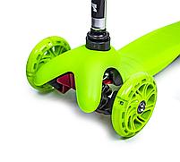Детский трехколесный самокат oter Mini (Зеленый) (светящиеся колеса), фото 2