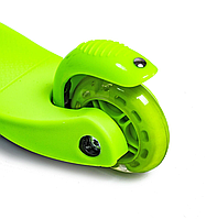 Детский трехколесный самокат oter Mini (Зеленый) (светящиеся колеса), фото 3