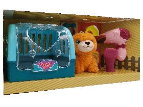 Собачка в переноске с набором для ухода Рыжая Carry Case