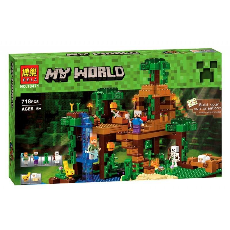 """Конструктор майнкрафт BELA Minecraft """"Домик на дереве в джунглях"""" 718 детали"""