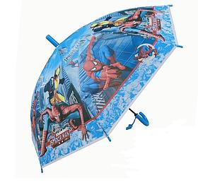 Детский зонтик для мальчика трость полуавтомат Человек паук / Spider man (со свистком)