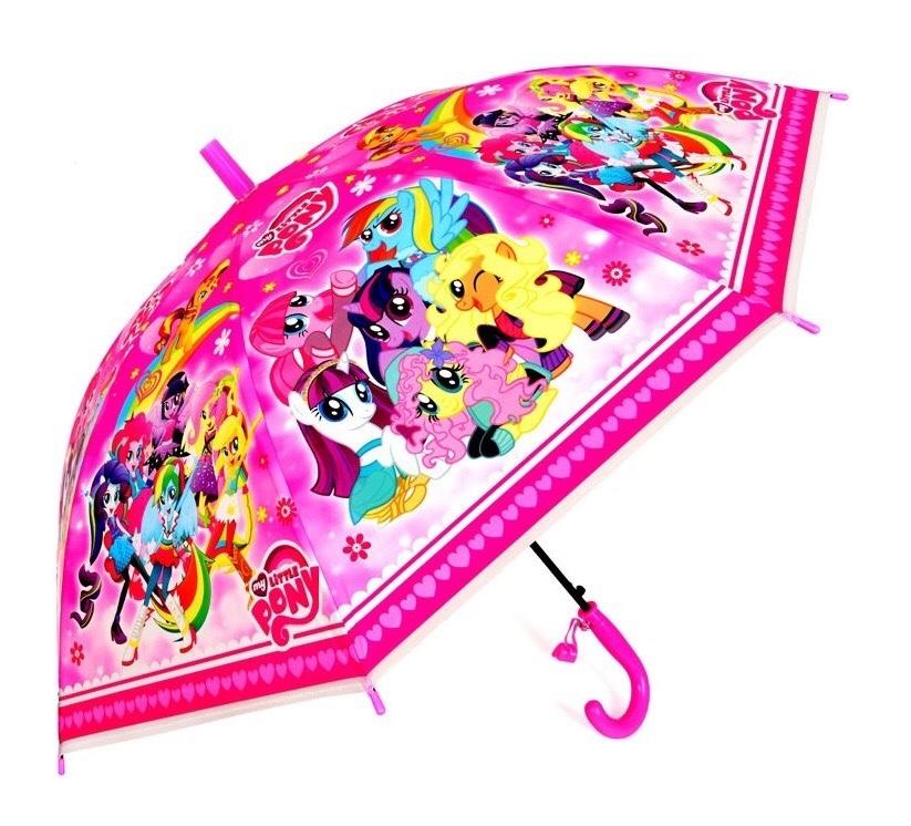 Детский зонтик для девочки трость полуавтомат с Пони / My little pony (со свистком)