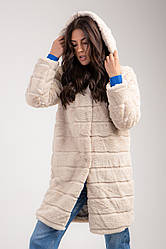 Женская искусственная шуба до колена с капюшоном и карманами в 3 цветах