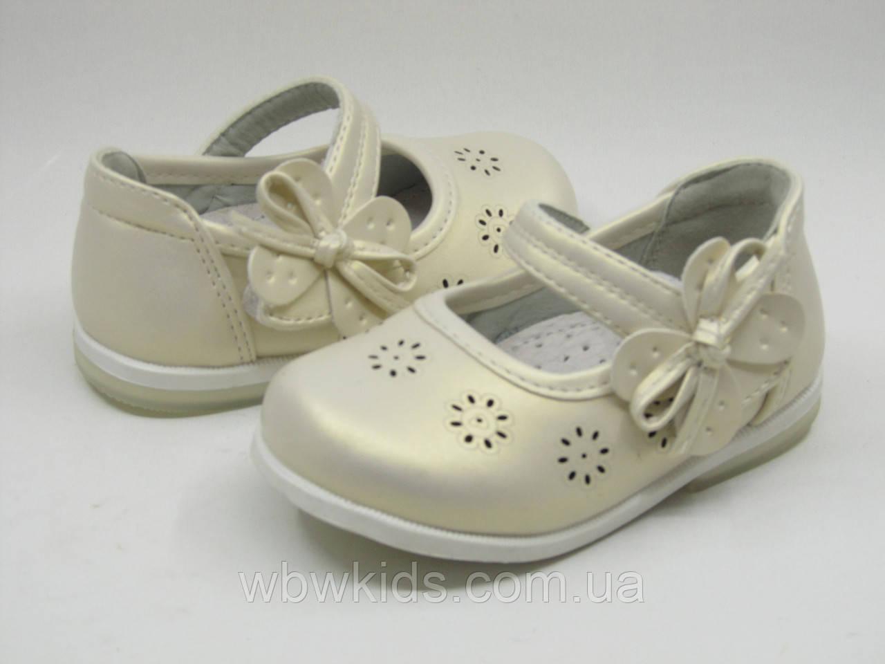 Туфли детские Clibee DM-101 gold для девочки золотистые 22