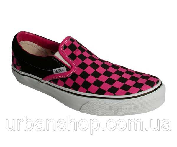Слипоны Vans черно-розовые.