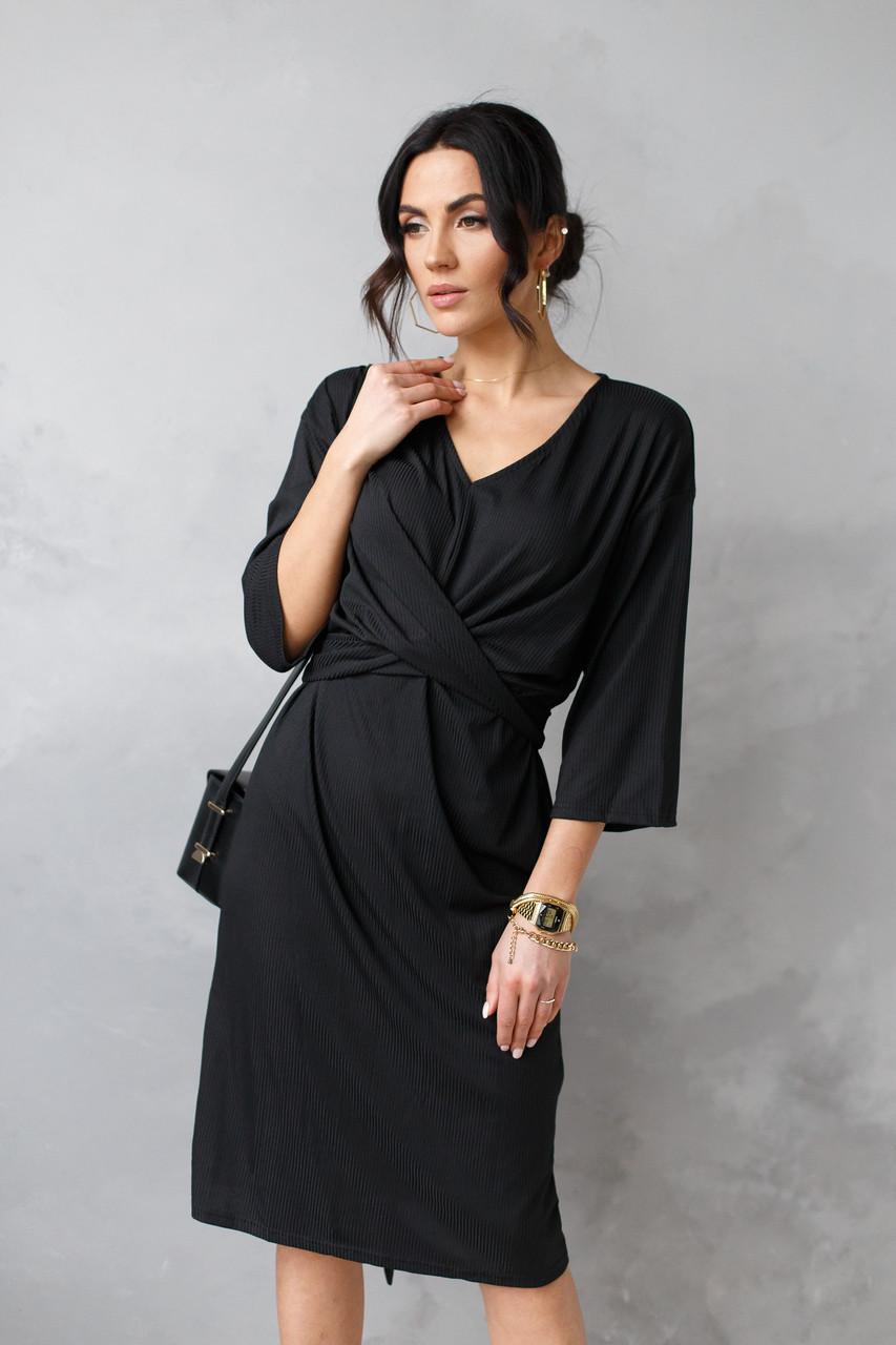 Строге елегантне приталену сукню міді з паєтками в чорному кольорі в універсальному розмірі