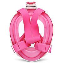 Полнолицевая панорамная маска для плавания FREE BREATH (L/XL) M2068G с креплением для камеры Розовый, фото 7