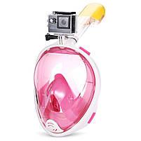 Полнолицевая панорамная маска для плавания FREE BREATH (L/XL) M2068G с креплением для камеры Розовый, фото 8