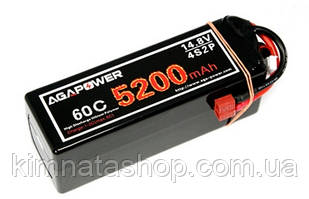Акумулятор AGA POWER Li-Pol 5200mAh 14.8 V 4S1P 60C Hardcase 48х47х138мм T-Plug