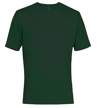 Футболка однотонна чоловіча, колір темно зелений, кругла горловина