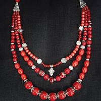 """Красное украинское ожерелье ручной работы в этно стиле """"Украинская вышиванка"""""""