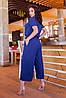 Легкий стильний літній комбінезон з широкими брюками кюлотами, батал великі розміри, фото 6