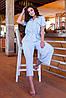 Легкий стильний літній комбінезон з широкими брюками кюлотами, батал великі розміри, фото 3