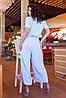 Легкий стильний літній комбінезон з широкими брюками кюлотами, батал великі розміри, фото 4