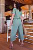 Легкий стильний літній комбінезон з широкими брюками кюлотами, батал великі розміри, фото 2