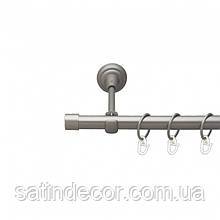 Карниз для штор металевий ЗАГЛУШКА однорядний 19мм 2.0 м Сатин нікель