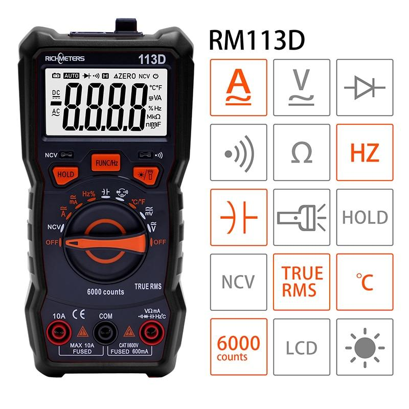 Richmeters RM113D Чёрный Мультиметр автомат True RMS NCV 6000 отсчетов термопара фонарик магнит