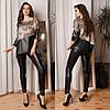 Женский стильный костюм из искусственной кожи и шелка: туника и лосины, норма и батал большие размеры, фото 6