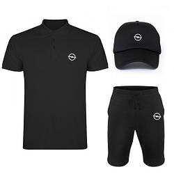 Мужской костюм тройка кепка поло и шорты Опель (Opel), летний мужской костюм, копия