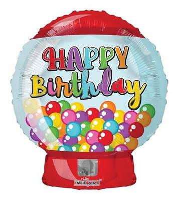 """К 18"""" Happy Birthday Gum Machine, Фольгированный шар фигура -  С Днем Рождения"""