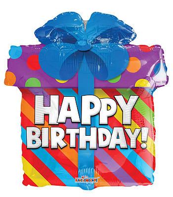 """К 18"""" Happy Birthday Present, фольгированный шар фигура - С Днем Рождения подарок"""