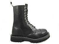 Ботинки STEEL 105/106/0 10 дыр. чёрные (кожа, стальной носок, черевики, шкіра)