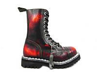 Ботинки STEEL 105/106/0 YBR10 дыр.чёрно-красные (кожа, стальной носок, шкіра, черевики)