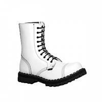 Ботинки STEEL 105/106/0 FULL WHITE  10 дыр.белые (кожа, стальной носок, шкіра, черевики)
