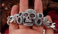 Мужской серебряный большой браслет байкерский Череп 128 гр 23 см