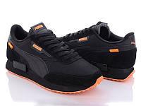 Мужские кроссовки Puma Future Rider (реплика), черные с оранжевым (10232)
