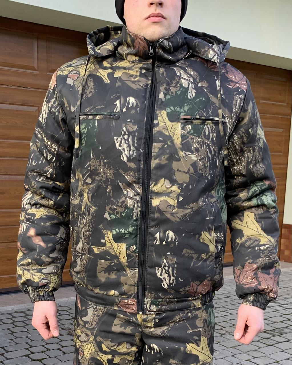 Куртка - бушлат на резинці Камуфляжний зимовий Темний клен
