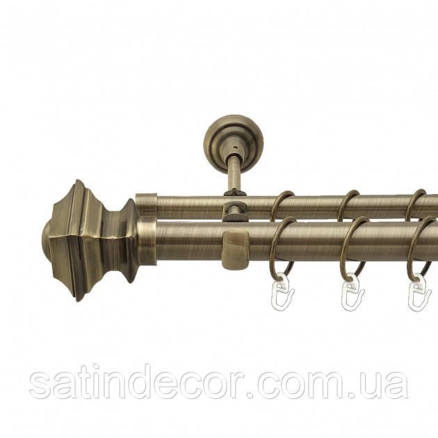 Карниз для штор металевий БОРДЖЕЗА подвійний 19+19 мм 1.6м Античне золото