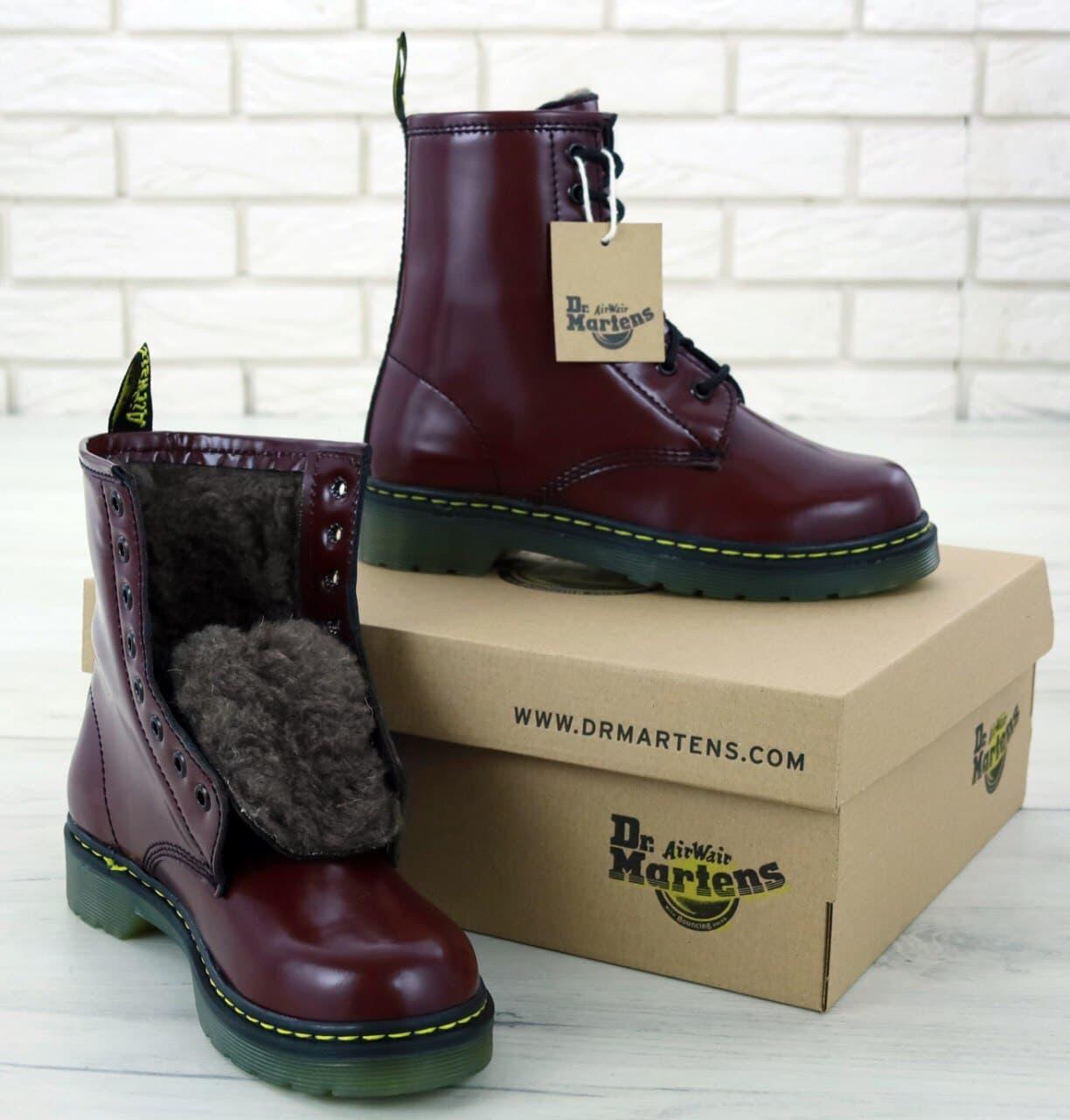 Женские зимние ботинки Dr. Martens (бордовый) стильная молодежная обувь К11945