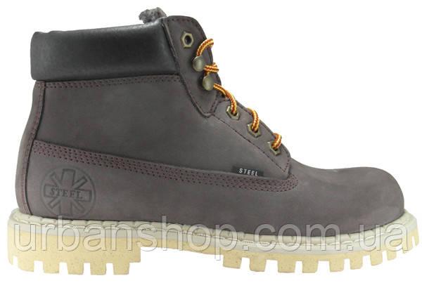 Черевики STEEL 052OCW-BRN 6 дир. сірі нубук (Черевики, Зимові, хутро, шкіра, черевики, хутро, вовна)