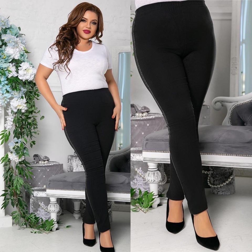 Стильные женские джинсовые лосины джеггинсы с лампасами сбоку, батал большие размеры