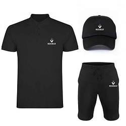 Мужской костюм тройка кепка поло и шорты Рено (Renault), летний мужской костюм, копия