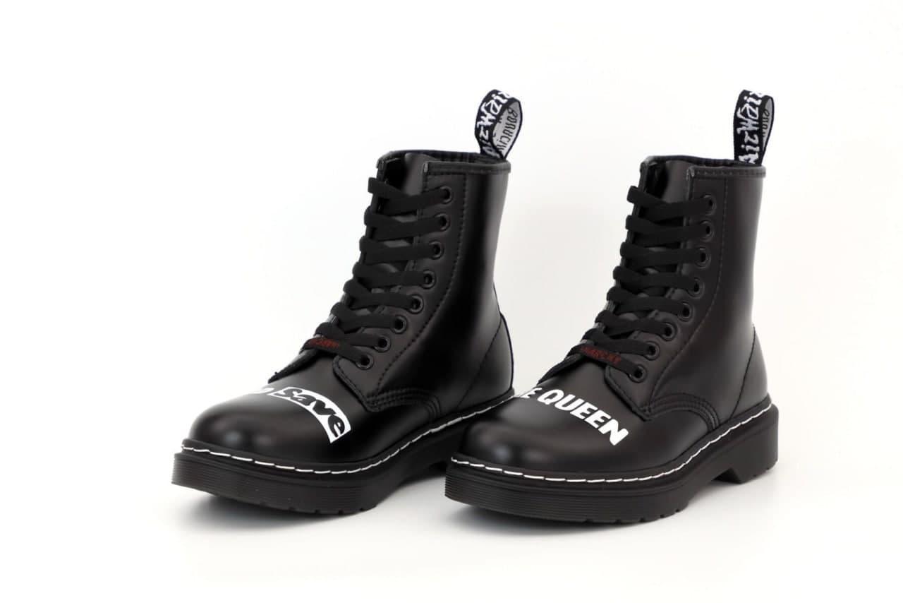 """Жіночі зимові черевики Sex Pistols & Dr. Martens """"God Save the Queen"""" (чорні) зручна молодіжна взуття К12417"""