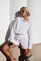 Модний костюм з льону в універсальному розмірі, шорти з сорочкою - ідеально для жаркої погоди