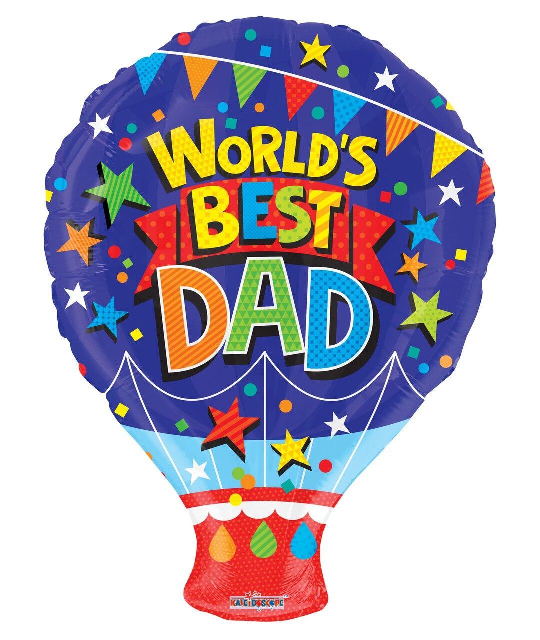 """К 18"""" World's Best Dad Shape, фольгированный шар фольга- Лучший в мире Папа. В УП"""