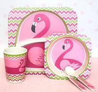 Набор детской посуды бамбуковой Фламинго