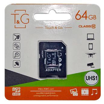 Карта памяти T&G microSDXC (UHS-1) 64 GB class 10 (с адаптером)