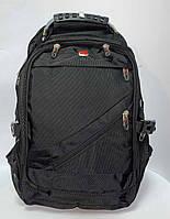 Эргономичный швейцарский рюкзак с  Usb aux и карманом для ноутбука черный