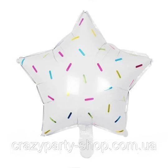 Фольгированый шар   Звезда белая с полосками  18 дюймов