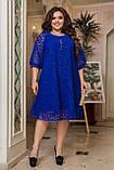 Ошатне плаття жіноче Креп дайвінг і флок на сітці Розмір 50 52 54 56 58 60 62 64 Різні кольори, фото 2
