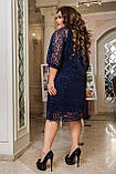 Ошатне плаття жіноче Креп дайвінг і флок на сітці Розмір 50 52 54 56 58 60 62 64 Різні кольори, фото 3